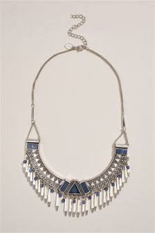 Silver Tone Tassel Detail Bib Necklace