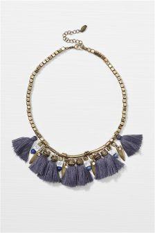 Grey Tassel Necklace