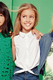 White Tie Front Shirt (3-16yrs)