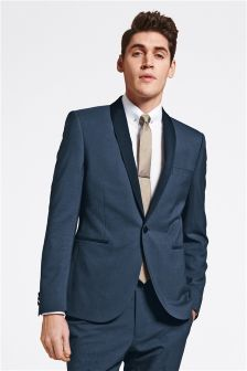 Blue Shawl Collar Skinny Fit Suit
