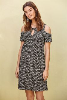 Monochrome Cold Shoulder Jacquard Dress