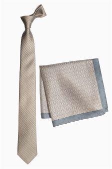 Champagne Silk Tie, Pocket Square And Tie Clip Set