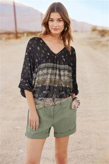 Textured Cotton Linen Shorts