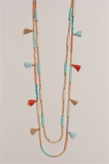 Turquoise And Orange Tassel Detail Multi Row Necklace