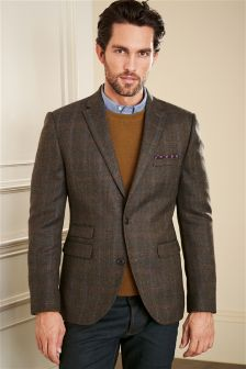 Khaki Herringbone Check Jacket