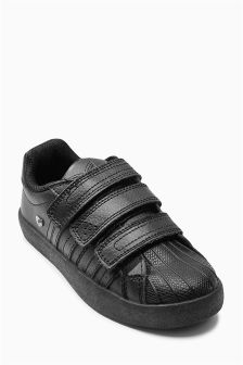 Black Shell Toe Triple Strap Trainers (Older Boys)
