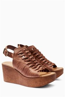 Leather Weave Wedges