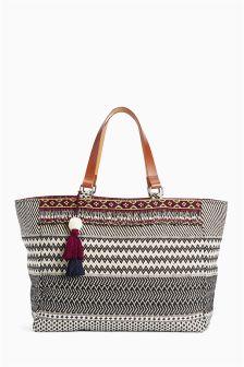 Monochrome Beaded Fabric Shopper Bag