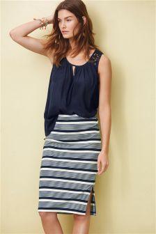 Stripe Ribbed Skirt