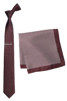 Burgundy Textured Tie, Pocket Square And Tie Clip