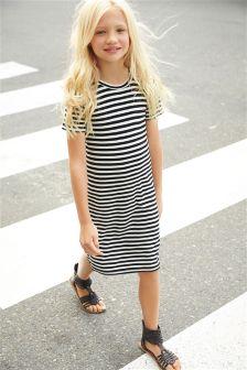 Black/White Stripe Tube Dress (5-16yrs)
