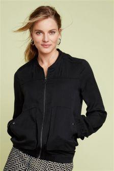 Black Tencel® Bomber Jacket