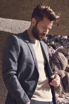Blue Slim Fit Cotton Linen Jacket