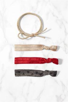 Red Elasticated Hair Ribbons