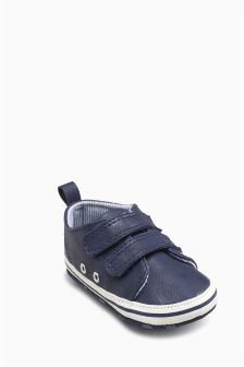 Navy Double Velcro Pram Shoes (Younger Boys)