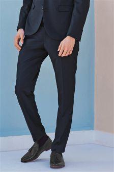 Blue Shiny Slim Fit Suit: Trousers