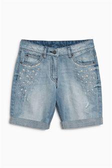 Denim Mid Blue Sparkle Knee Shorts (3-16yrs)