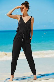 Black V-Neck Jersey Jumpsuit