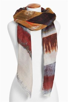 Orange, Brown Multi Stripe Print Scarf