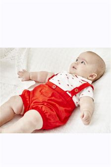 Red/White Shirt And Shorts With Braces Two Piece Set (0mths-2yrs)