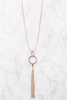 Rose Gold Tone Tassel Necklace