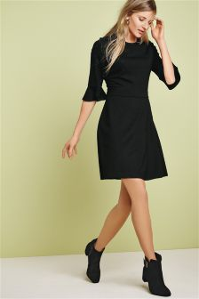 Black Fluted Sleeve Textured Dress