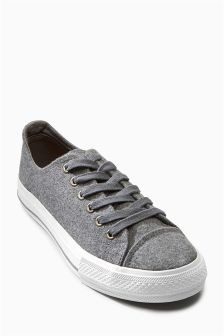 Grey Felt Baseball Trainers