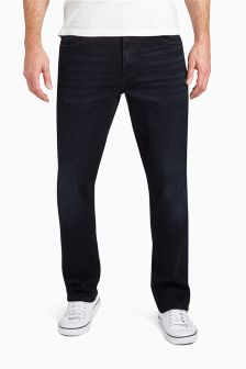 Blue Black Straight Fit Jeans With Stretch