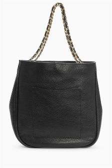Leather Chain Strap Hobo Bag