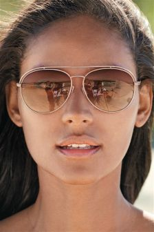 Rose Gold Tone Matt Framed Aviator Style Sunglasses