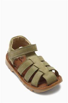 Khaki Leather Sandals (Younger Boys)