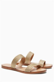 Gold Plait Two Band Sandals