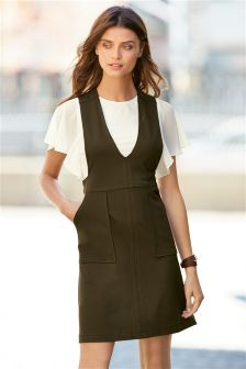 Khaki Pinafore 2 In 1 Dress