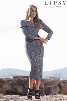 Lipsy Belted Bardot Knitted Dress