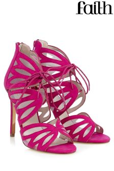 Faith Mesh Caged Ghillie Heeled Shoes