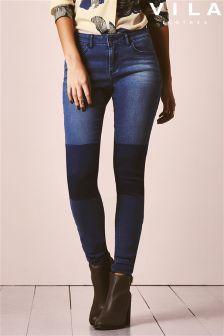 Vila Mid Wash Denim Patch Jeans