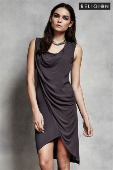 Religion Drape Sleeveless Dress