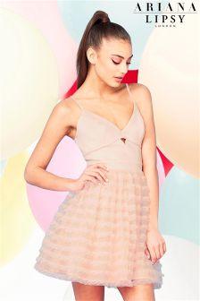 Ariana Grande For Lipsy Nude Ruffle Prom Dress