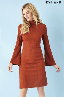 First and I Ribbed Turtle Neck Dress