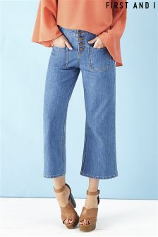 First and I Cropped Flare Jeans