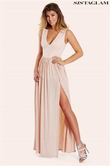 Sistaglam Slinky Plunge Maxi Dress