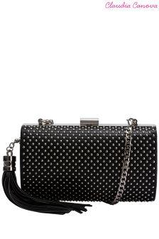 Claudia Canova Curved Studded Clutch Bag