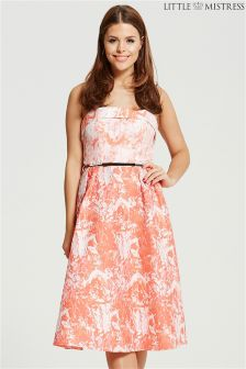 Little Mistress Jacquard Fold Front Bandeau Midi Dress