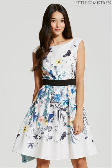 Little Mistress Spring Floral Print Fit And Flare Dress