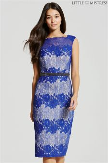 Little Mistress Lace Embellished Bodycon Midi Dress
