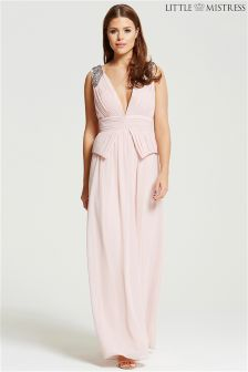 Little Mistress Plunge Peplum Maxi Dress