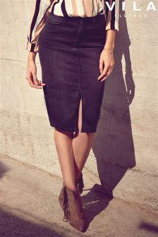 Vila Denim Front Spilt  Pencil Skirt