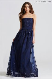 Little Mistress Bandeau Embroidered Mesh Maxi Dress