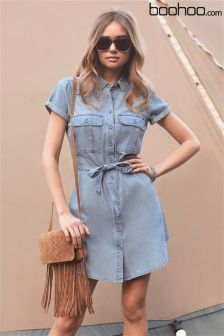 Boohoo Utility Tie Waist Denim Dress
