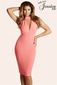 Jessica Wright High Neck Plunge Bodycon Dress